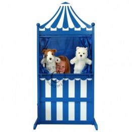 Wooden Puppet Theatre & Marionette Stage - Blue & White