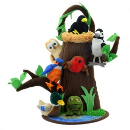 Tree House With Nest and Pond Finger Puppet Play Set