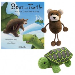 Bear and Turtle and the Great Lake Race Book with Bear and Tortoise Finger Puppets