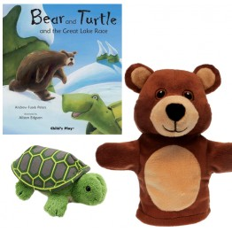 Bear and Turtle and the Great Lake Race Book with My First Bear Hand Puppet and Tortoise Finger Puppet
