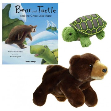 Bear and Turtle and the Great Lake Race Book with Full Bodied Bear Puppet and Tortoise Finger Puppet