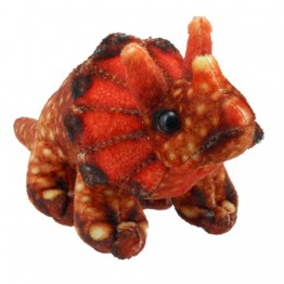 Dinosaur Finger Puppet: Triceratops (Orange)