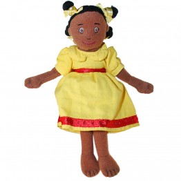 Girl (Dark Skin,Yellow Dress) Finger Puppet