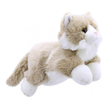 Full-Bodied Animal Puppet: Beige and White Cat