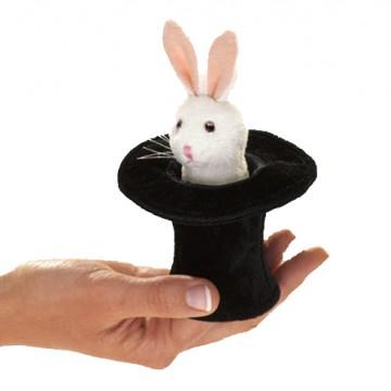 Mini Rabbit in Top Hat Finger Puppet