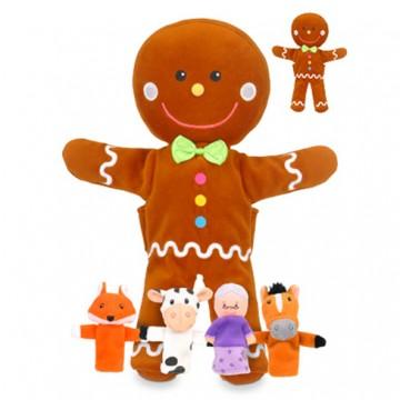 Gingerbread Man Hand and Finger Puppet Set