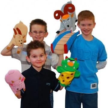 Three Billy Goats Gruff Hand Puppet Set