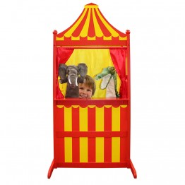 Wooden Puppet Theatre & Marionette Stage - Red & Yellow